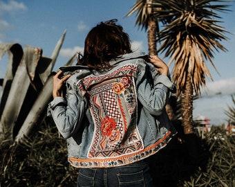 97dd00d4a0 Woman denim jacket customized  BOHO CAVERN   70 s