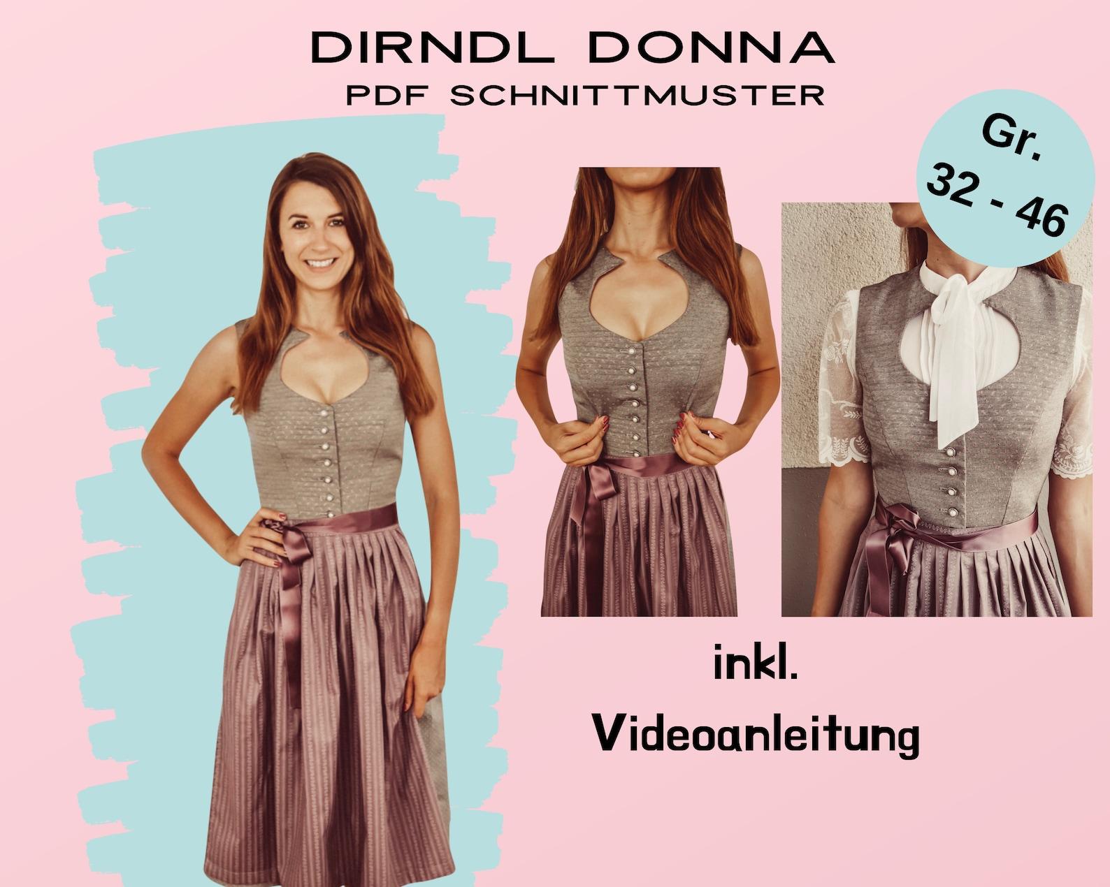 Dirndlschnittmuster Donna mit Tropfenausschnitt, 32-46