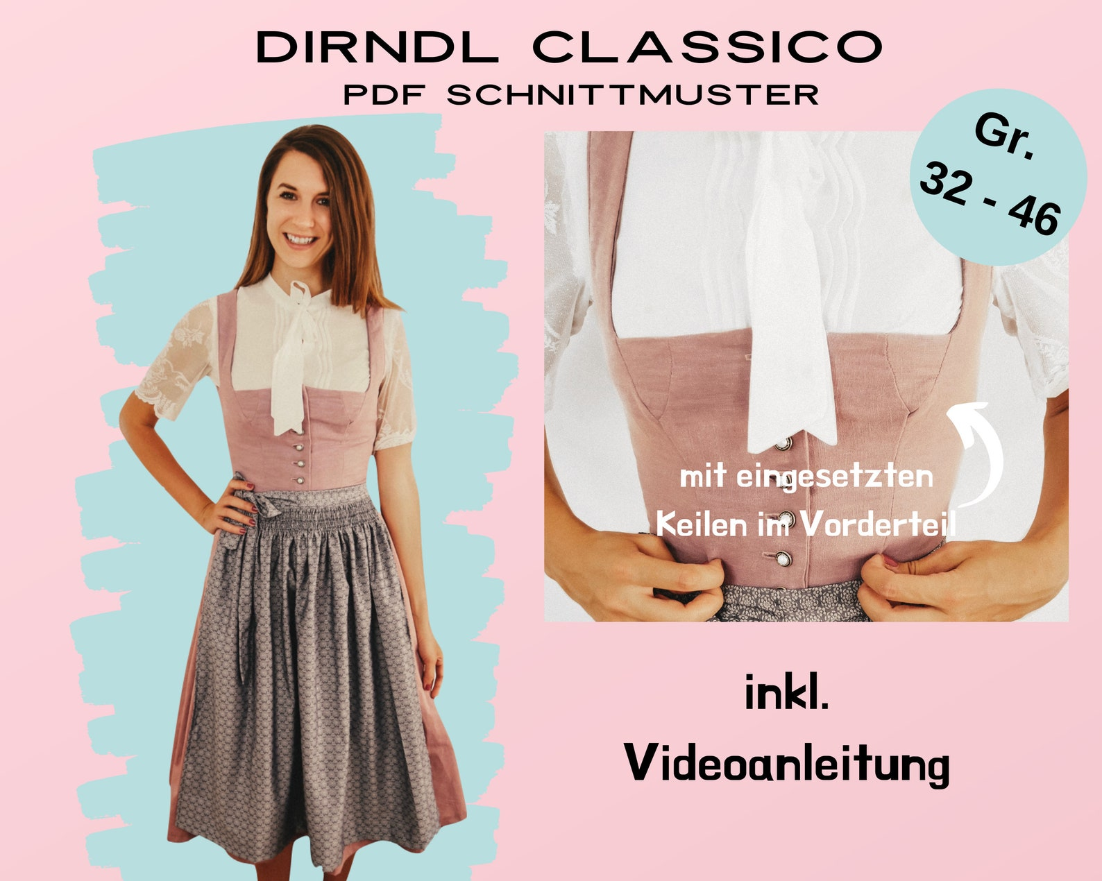 Dirndlschnittmuster Classico, 32-46