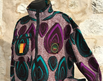 Festival Reversible Jacket Purple, African Pattern Colourful Jacket, African Clothing, Festival Clothing, Reversible Patchwork Jacket