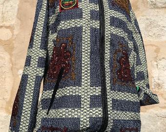 Unisex 90's Bomber Jacket Grey Patchwork, African Festival Bomber Jacket, Handmade African Bomber Jacket Clothing, Rasta Jacket