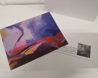 Abstract Landscape Water Colour Post Card Collection, Scenic Landscape Painting Print Post Cards, Handmade Graphic Design Card Collection