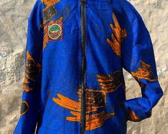 Unisex 90's Bomber Jacket Blue Orange Print, African Festival Bomber Jacket, Blue Orange Bomber Jacket