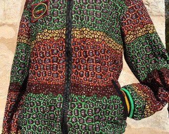 Unisex 90's Bomber Jacket, African Festival Bomber Jacket, African Kitenge Sunstainable Clothing, Grey 90s bomber jacket