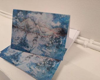 Handmade Abstract Art Card Collection, Feminist Art Painting Print Post Cards, Landscape Scenic Handmade Card