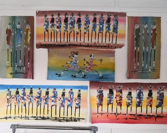 African Tribal Art, Sustainable Tribal Art, Acrylic Painting, Tribal Painting, Tribal Wall Hanging, Tribal Home Decor, Tribal African Decor