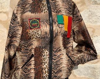 Unisex 90's Bomber Jacket, African Festival Bomber Jacket, Tiger Print Bomber Jacket, Grey 90s bomber jacket