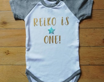 3c97715f41c5 Personalised boys First birthday outfit