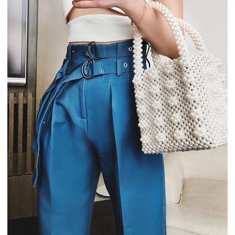 Women Retro Faux Pearl Embellished Beaded Box Bag Handmade Handbag