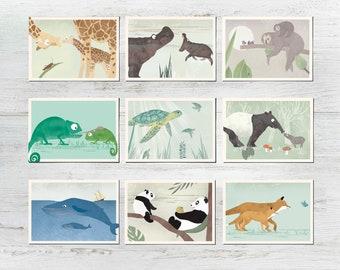5 postcards of your choice, animal card set, postcard set, illustrations, animals, animal children, birthday, children's birthday