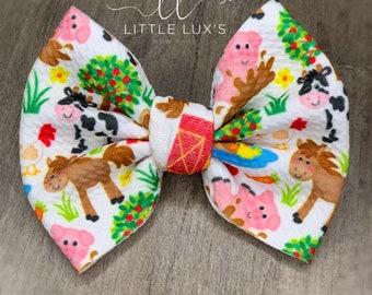 Farm Animal Print Bow Headband Set