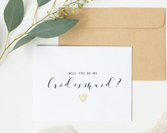 Will You Be My Bridesmaid Simple Card