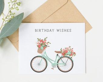 Birthday Wishes Mint Bicycle Card