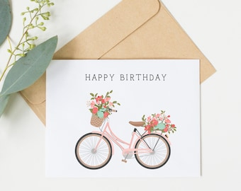 Happy Birthday Pink Bicycle Card