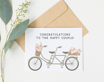 Congratulations Engagement Bicycle Card