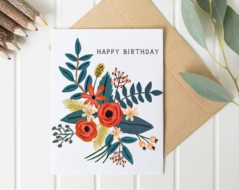 Happy Birthday Exotic Floral Card