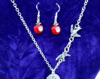 Snow White Silver Necklace and Apple encrusted Earings