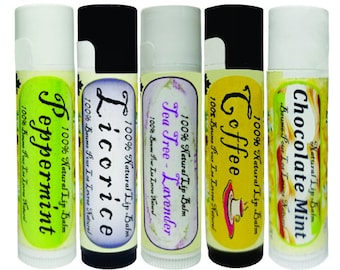Handcrafted 100% Natural Organic Lip Balm - Pack of 5 x 4.25 g.  Peppermint, Licorice, Tea Tree Lavender, Coffee, Chocolate Mint.