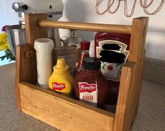 Handmade wooden condiments holder, sauce holder, sauce caddy, handmade caddy, rustic sauce holder, wooden condiments holder