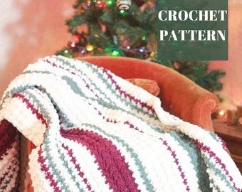 Crochet Chunky Blanket, Crochet Stripe Blanket Pattern, Crochet Blanket Pattern, Chunky Crochet Blanket Pattern