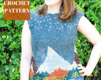 Crochet Mountain Sweater Pattern, Tapestry Crochet Sweater, Tapestry Crochet Pattern, Crochet Top Pattern, Intarsia Crochet Pattern