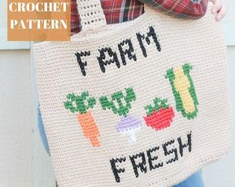 Farm Fresh Crochet Market Bag Pattern, Crochet Bag, Crochet Tote, Crochet Market Bag, Crochet Bag Pattern, Intarsia Crochet, Crochet Summer