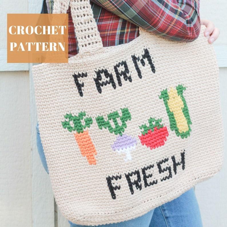 Farm Fresh Crochet Market Bag Pattern Crochet Bag Crochet image 0