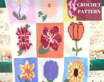 Flower Crochet Blanket, Tapestry Crochet, Tapestry Crochet Blanket, Crochet Flower Throw, Crochet Blanket Pattern, Easy Crochet Pattern