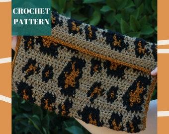 Crochet Leopard Clutch, Tapestry Crochet Purse Pattern, Crochet Clutch Pattern, Crochet Bag Pattern, Tapestry Crochet