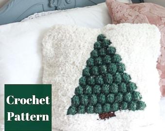 Crochet Pillow Cover, Crochet Christmas, Pine Tree Decor, Crochet Pillow Pattern, Easy Crochet Pattern, Crochet Pillow Pattern