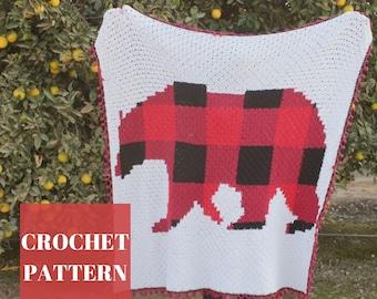Crochet Bear Blanket, C2C Blanket Pattern, C2C Graphgan Pattern, C2C Crochet Patterns, Crochet Plaid Blanket, C2C Crochet Blanket