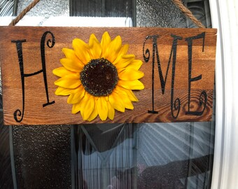 Home Sign Sunflower For Wreaths Wreath Attachment Rustic Decor