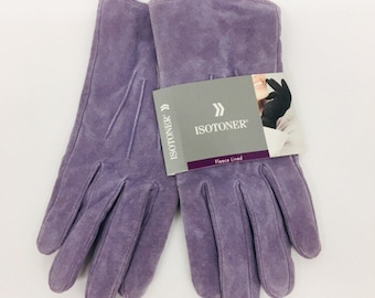 308324958 Vintage ISOTONER Lilac Purple Lavende Suede Gloves Fleece Lined 1990s With  Original Tags Never Worn