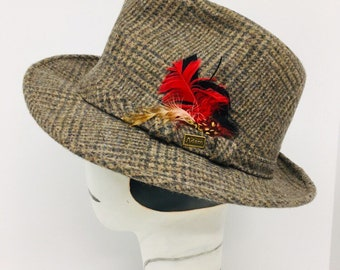 23a7737ba87a8e Vintage 1960s Adam New York Fedora Hat Wool Plaid with Original Feathers