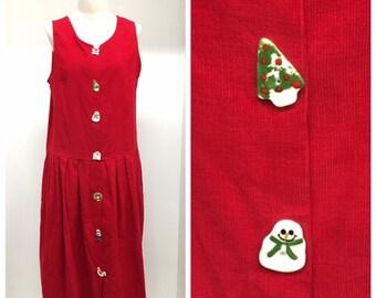 2cf2d17e74c Vintage Ugly Christmas Dress Red Corduroy Jumper Size 10