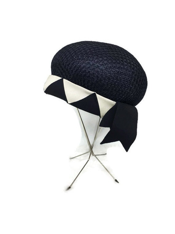 Emme Boutique  #6012 Vintage Blue /& White Straw Hat w wide Yellow ribbon