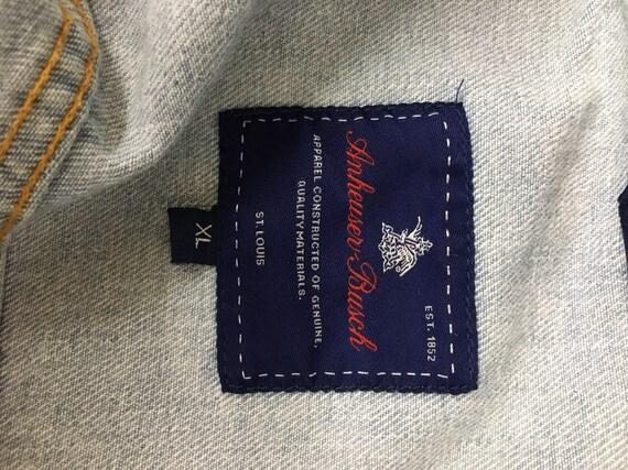 Vintage Anheuser Busch Rare Denim Jean Jacket Size XL Light Blue Denim  Excellent Condition Ready To Ship