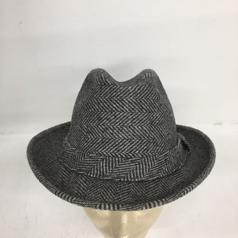 9cc7d6b8a 1960s Vintage Adam New York Fedora Hat Gray Herringbone Size Large Cir. 23  Inches Made In USA