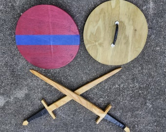 Kid's wooden sword and shield set.