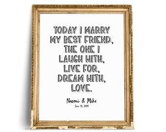 Today I Marry My Best Friend Wedding Quotes Wedding Quote Etsy