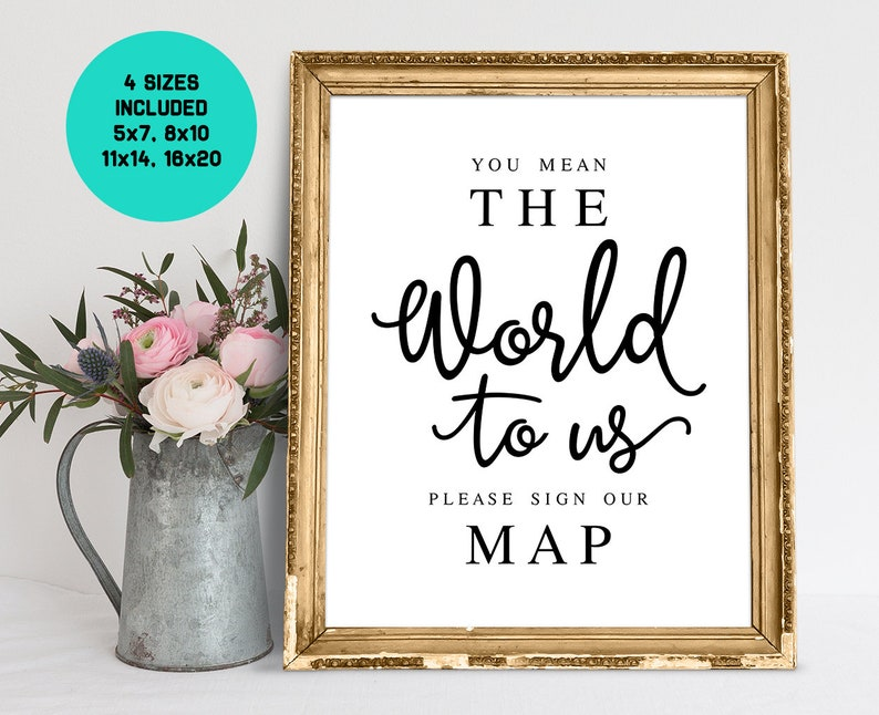 2421f2270498 You Mean The World To Us Please Sign Our Map Wedding Signs