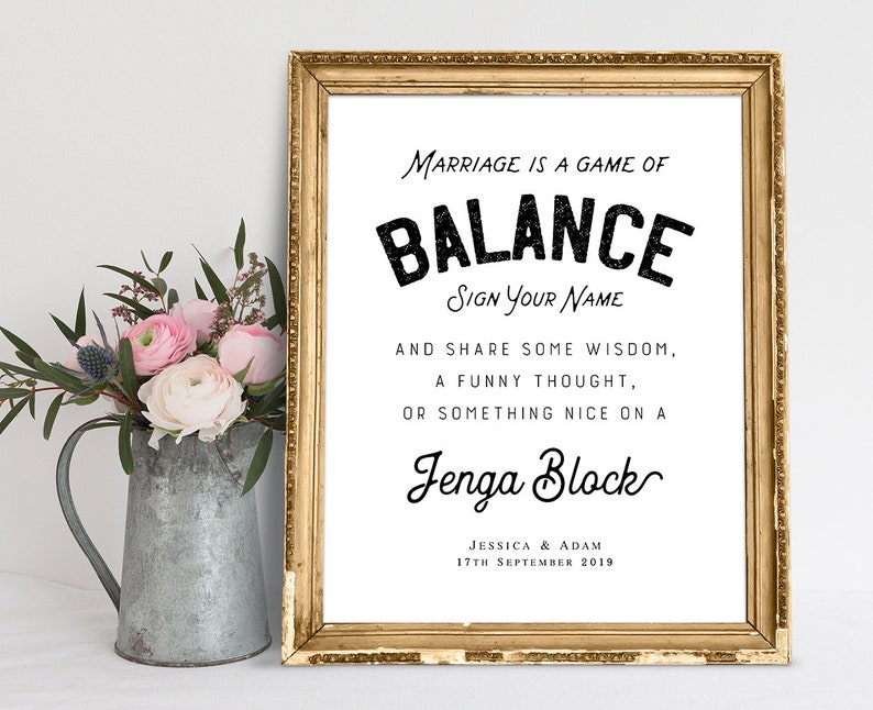 Marriage Is A Game Of Balance Wedding Signs Wedding Quotes Etsy