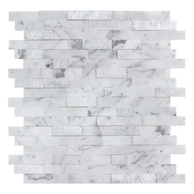MTO0213 Peel and Stick Classic Linear White Gray Carrara Marble Mosaic Tile