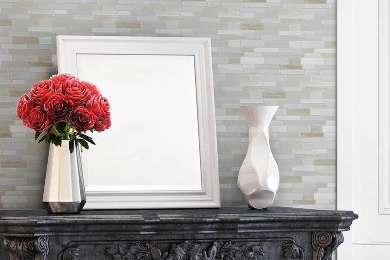 MTO0403 Peel and Stick Linear White Grey Khaki Glossy Resin Vinyl Mosaic Tile
