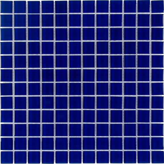 Mto0295 Classic 1x1 Stacked Squares Cobalt Blue Glossy Glass Etsy
