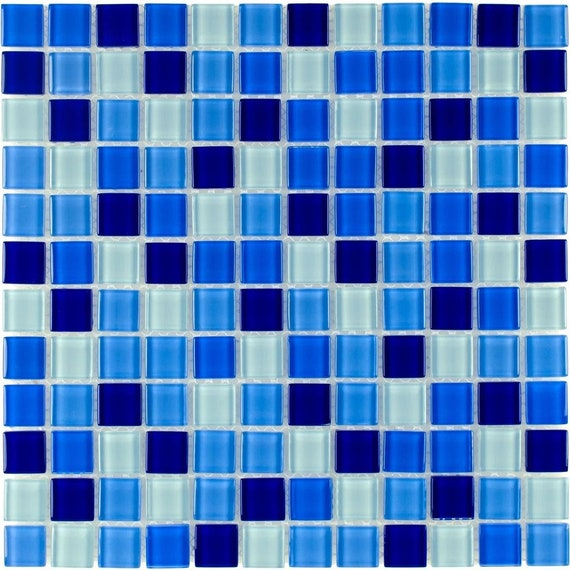 Mto0297 Classic 1x1 Stacked Squares Blue White Glossy Glass Etsy
