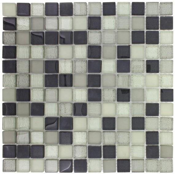 Mto0390 Modern 1x1 Stacked Squares Grey White Glossy Glass Etsy