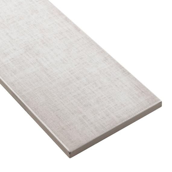 MTO0561 Modern 4X12 Linen-Look Subway White Gray Glossy Ceramic Tile