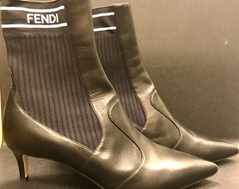 Fendi Rockoko Sock Boot Size 37 1/2