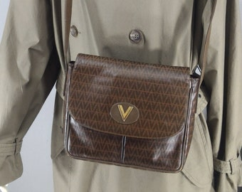 d7e319ddf5 Vintage Mario Valentino Sling Bag Brown Color Monogram 80s Crossbody Bag  Italian Design Bag Made In Italy for Women
